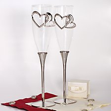 Sparkling Heart Champagne Flutes