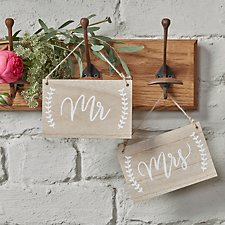 Mr and Mrs Wooden Chair Signs