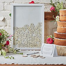 Drop Top Wooden Frame Guest Book
