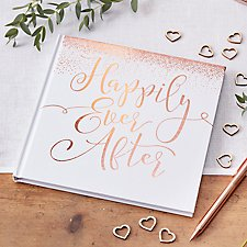 rose gold happily ever after guest book