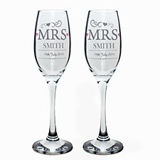 Mrs and Mrs Champagne Flutes
