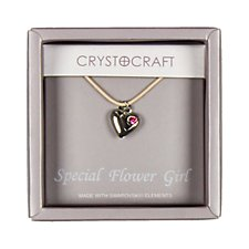 Crystocraft Heart Charm Flower Girl Necklace