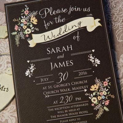 Chalkboard Evening Invitation Wedding Invitations