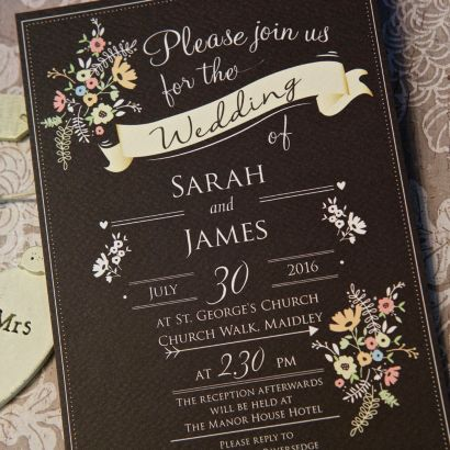 Chalkboard Day Invitation Vintage Wedding Invitations
