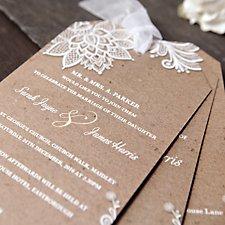 Chiffon & Lace Wedding Day Invitation