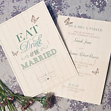 Eat, Drink & Be Married Wedding Day Invitation