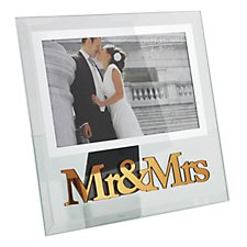 Mr & Mrs Glass Photo Frame