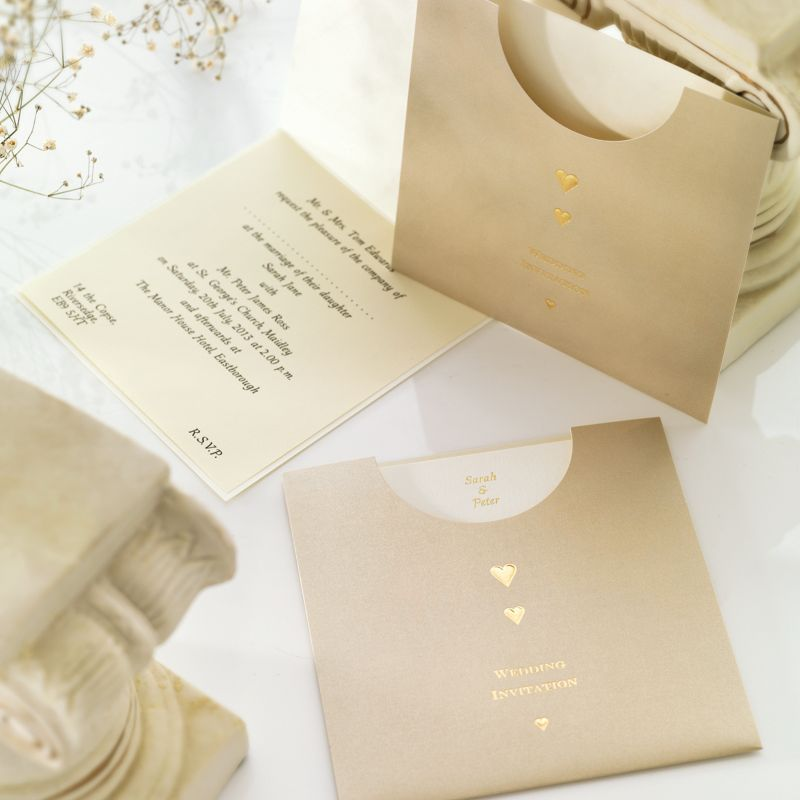 Golden Pocket Wedding Day Invitation