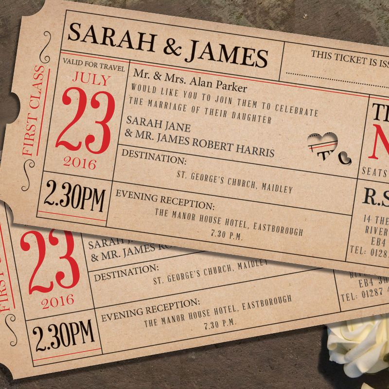 Ticket To Love Day Invitation  Wedding Invitations