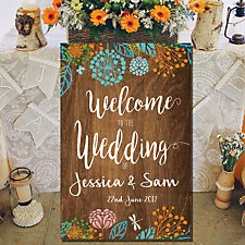Large Floral Wedding Welcome Canvas