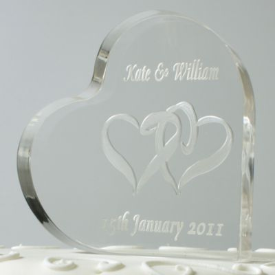 Engraved Heart Shaped Cake Topper Wedding Cake Toppers