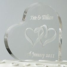 Engraved Heart Shaped Cake Topper - Over 50 Designs Available