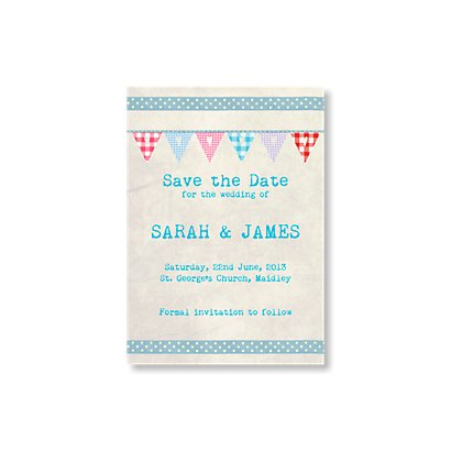 Bunting Save The Date Card Vintage Wedding Stationery