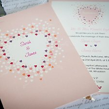 Coloured Hearts Wedding Evening Invitation