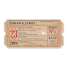 Ticket to Love Wedding Evening Invitation