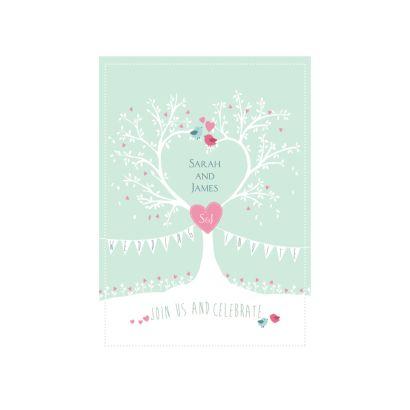 tree of hearts evening invitation wedding invitations