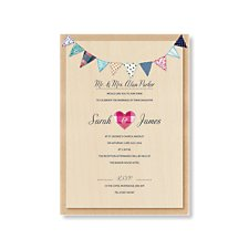 Village Bunting Wedding Day Invitation